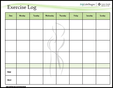 Sample Exercise Log | The Weight Loss Counter Revolution