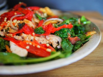 warm chicken spinach salad2